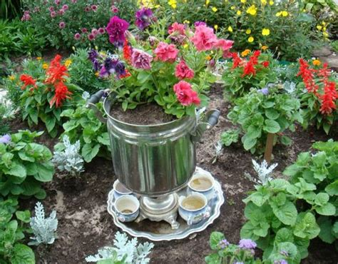 Handmade Garden Decor - 22 containers with flowers to add to summer