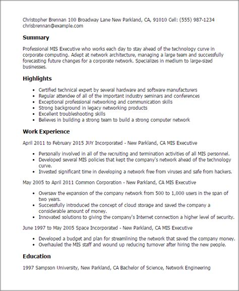exle executive resume format professional mis executive templates to showcase your