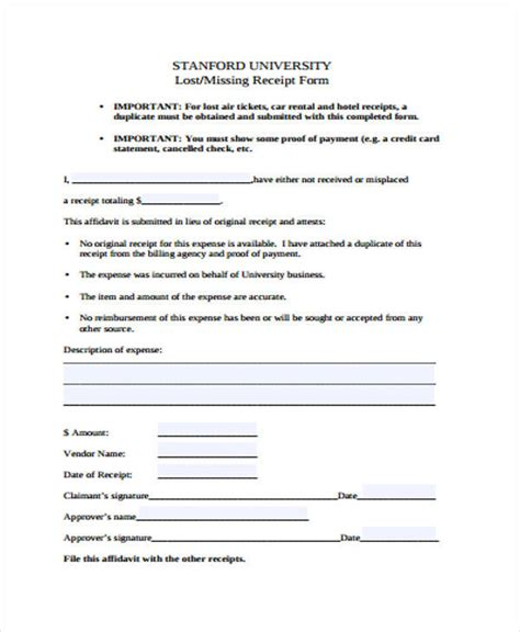 lost receipt form template 39 sle receipt forms sle templates