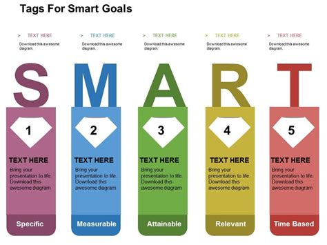 powerpoint smart templates tags for smart goals flat powerpoint design