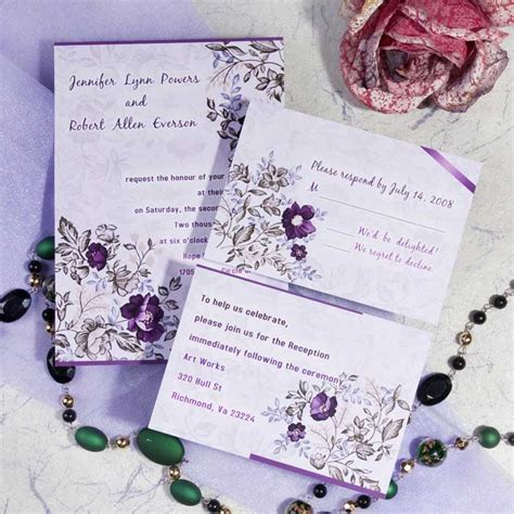 cheap purple wedding invitations purple floral printable wedding invitation cards