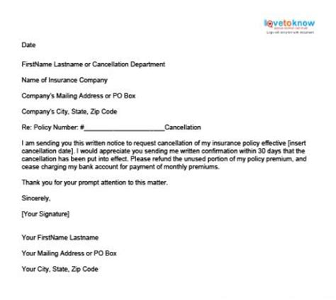 Car Insurance Cancellation Letter Exle Sle Insurance Cancellation Letter