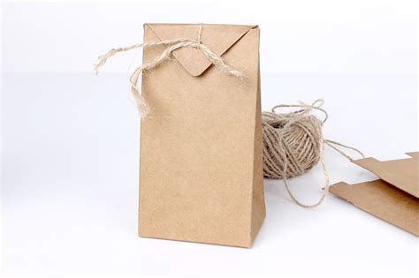 Folding Paper Bag - thick brown kraft paper folding gift pouch bag lace up