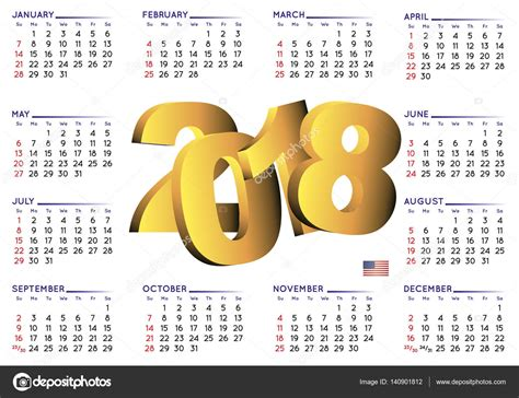 Calendario 2018 Usa 2018 Calendar Horizontal Usa Stock Vector