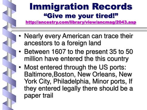 Immigration Records Ppt Immigration Records Give Me Your Tired Ancestry Library View Ancmag 2043