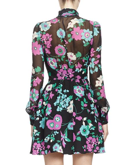 Tie Neck Silk Dress laurent tie neck silk floral print dress