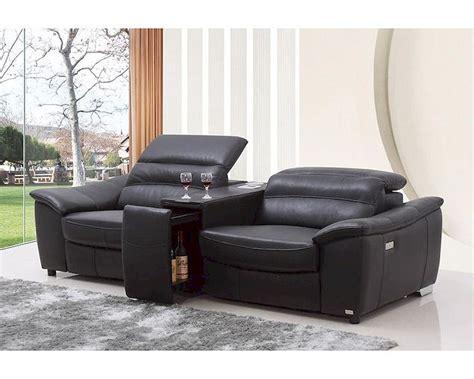 Modern Black Italian Leather Recliner Sofa W Wine Cabinet Italian Leather Reclining Sofa
