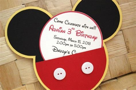 Handmade Mickey Mouse Birthday Invitations - handmade mickey mouse invitations for birthdays baby