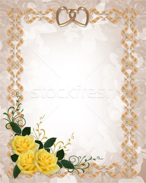Wedding Invitations With Yellow Border by Wedding Invitation Yellow Roses Gold Border Stock Photo