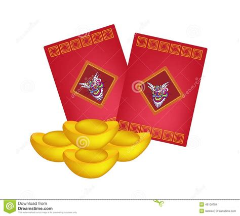 new year gold envelopes envelopes and gold ingots for new year stock