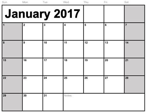 2017 Calendar On 1 Page Calendar January 2017 Printable One Page Calendar