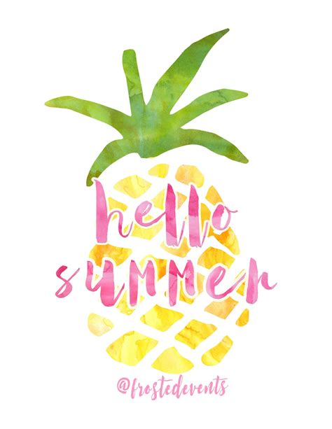 printable summer quotes free pineapple print hello summer pineapple watercolor