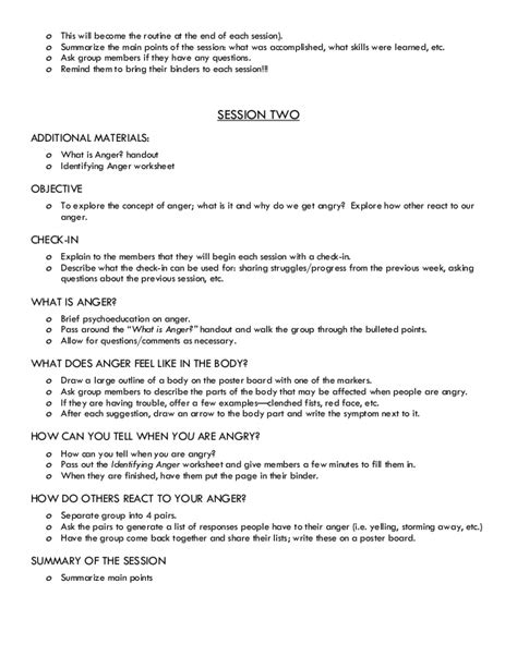 Session Outline Template by Therapy For Anger Management Curriculum