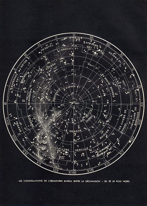 printable astronomy star charts star chart northern sky astronomy print 1940s constellations