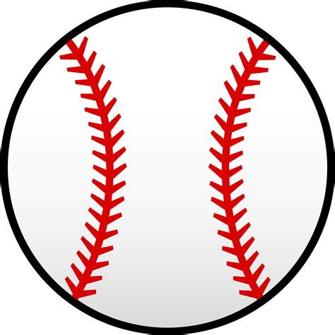 white baseball with red seams free clip art