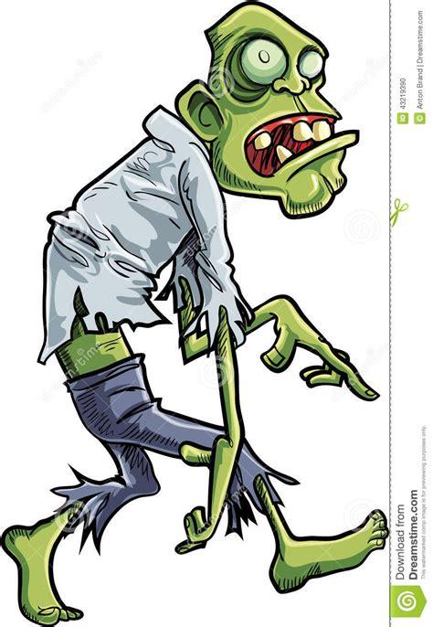 cartoon stalking zombie  big eyes stock illustration