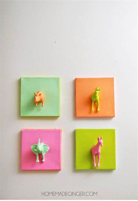 mini craft projects mini plastic animals diy canvas mod podge rocks