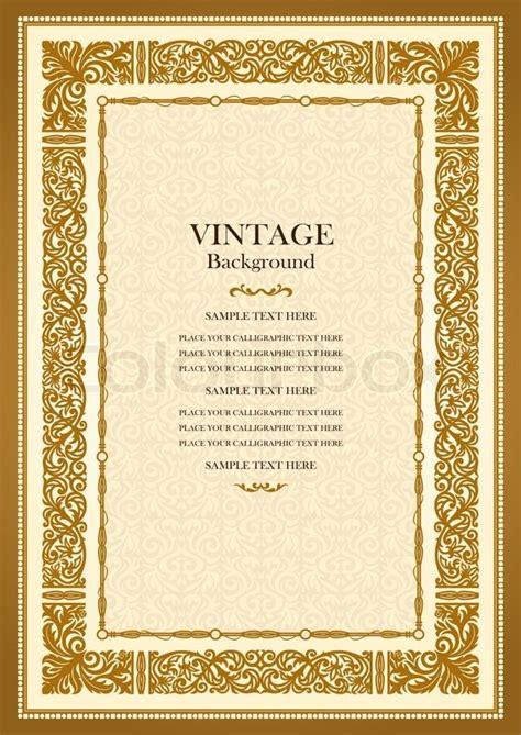 vintage gold background antique style frame victorian