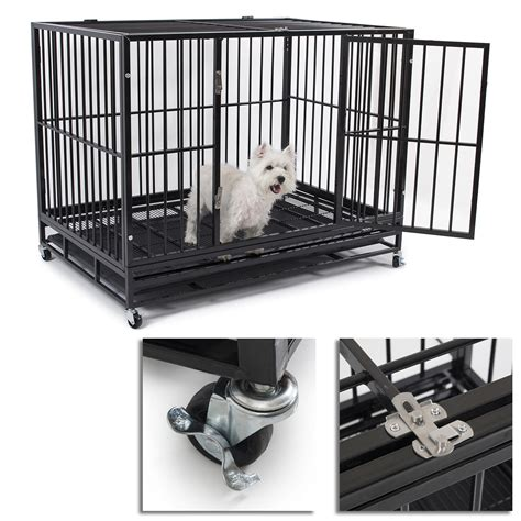 strong crate new 49 heavy duty strong metal pet cat cage crate cannel playpen w wheels ebay