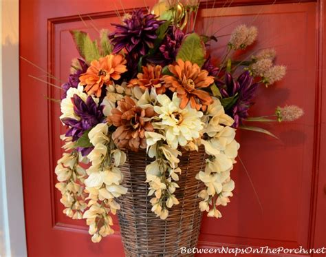 Front Door Flower Arrangements Floral Autumn Basket Instead Of A Wreath For The Front Door