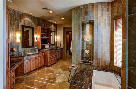 contemporary master bathroom with double sink amp stone tile