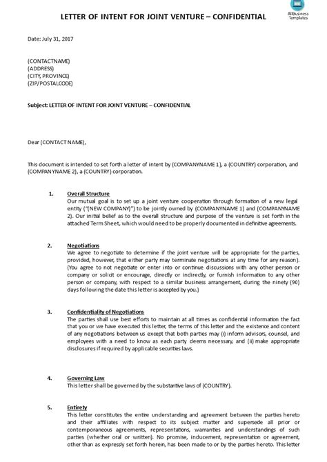 joint venture letter intent template templates