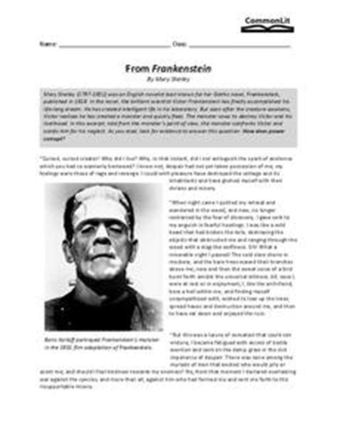 From Frankenstein 9th - 10th Grade Worksheet | Lesson Planet