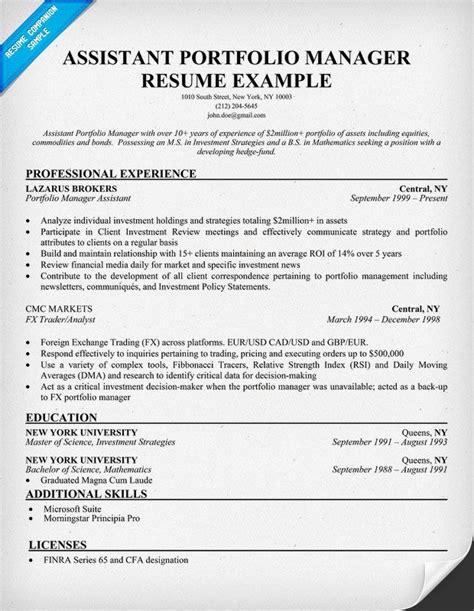 assistant portfolio manager resume sle resume sles