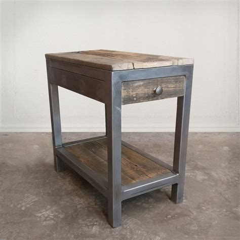 reclaimed wood and metal end table best 25 end tables with storage ideas on end