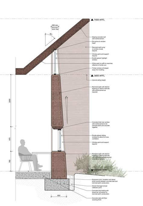 sectional reconciliation rammed earth wall section jpg architorture pinterest