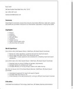 Sle Letter For Export Business Professional Import Export Coordinator Templates To Showcase Your Talent Myperfectresume