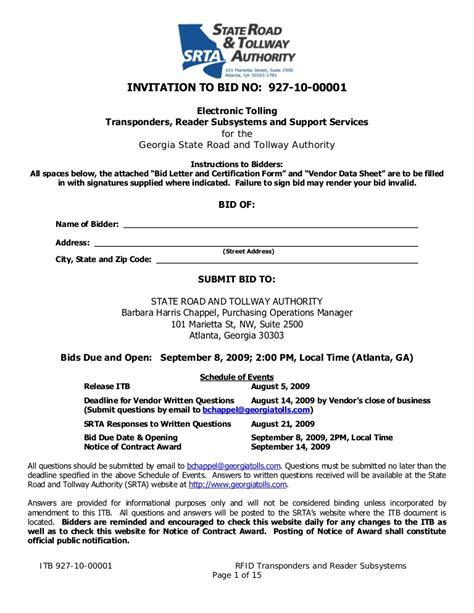 Invitation To Bid No 927 10 00001 To Bidders Template