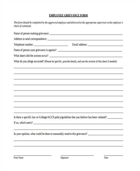 employee grievance form sle employee grievance forms 7 free documents in