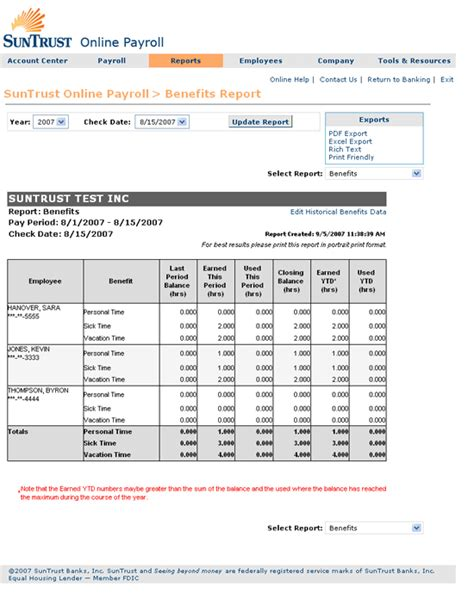 Suntrust Online Payroll Guided Tour Suntrust Bank Statement Template