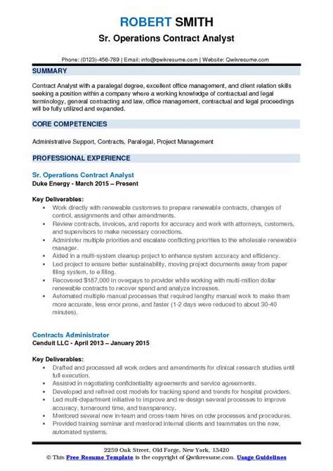 Contract Analyst by Contract Analyst Resume Sles Qwikresume