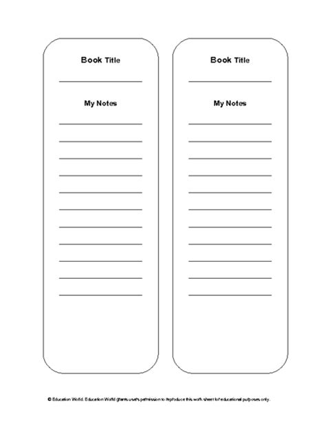plain bookmark template education world reading notes bookmark template doc