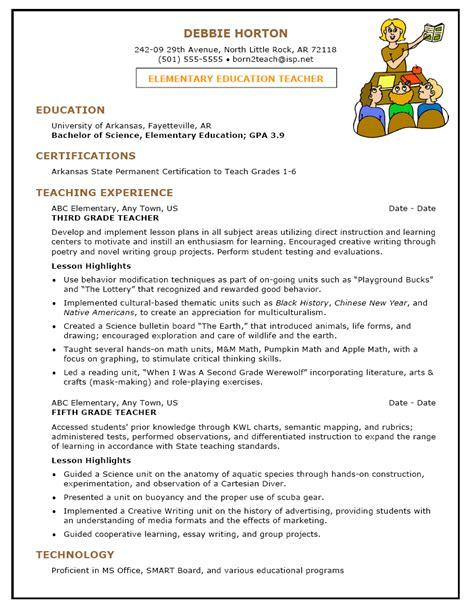 Resume Sample for a Teacher