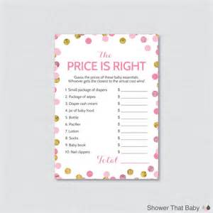 baby shower price is right in pink and gold printable