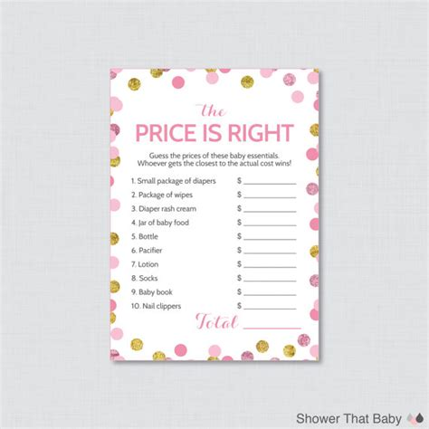 baby shower price is right game in pink and gold printable