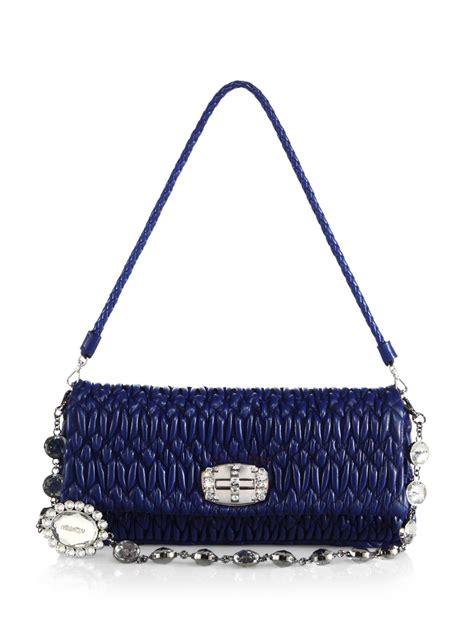 06 Bag Miu Miu 2047 miu miu pucker leather shoulder bag in blue