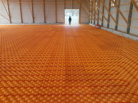 barn floor pole barn with creatherm floor insulation hydronic heat