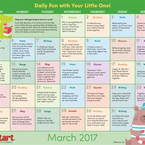 Calendar Activities Children S Activity Calendar June 2017