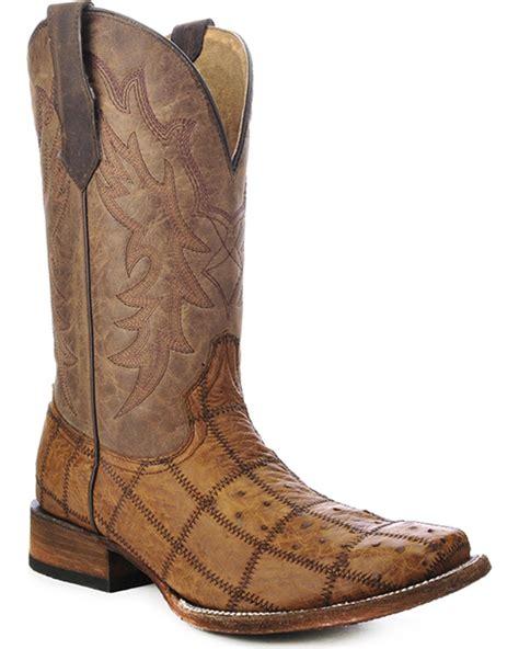 Patchwork Cowboy Boots - circle g s ostrich patchwork cowboy boot square toe