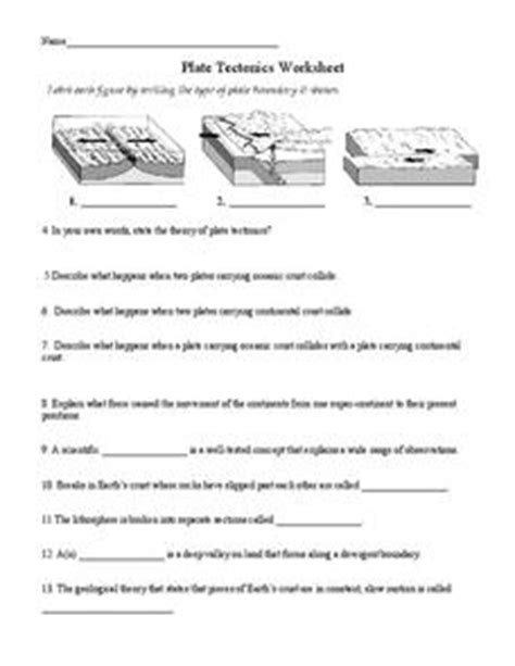 Plate Boundaries Worksheet Answers by Plate Tectonics 6th 8th Grade Worksheet Lesson Planet