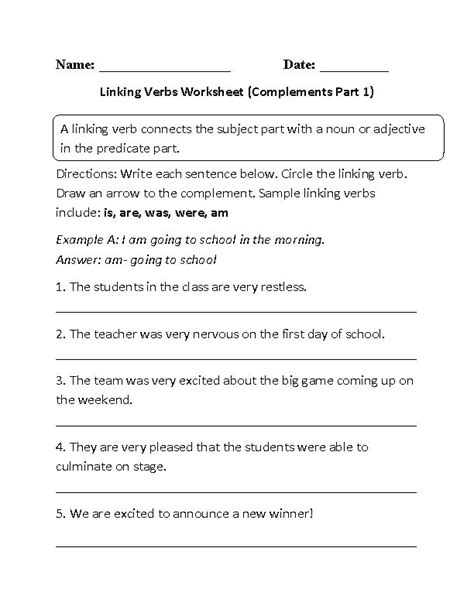 And Linking Verbs Worksheet
