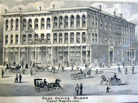 Post Office Cedar Rapids by County Iagenweb Photos 1875 Atlas