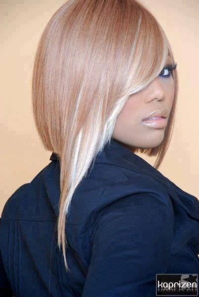 blonde bob sew in full sew in two toned brown and white blonde side bang