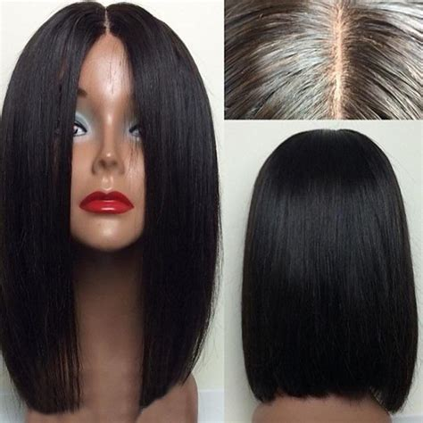 what is the best type of wig to wear for thinning edges short center parting straight bob lace front human hair