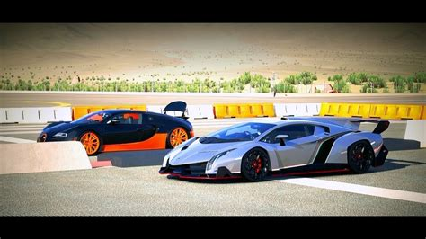 Lamborghini Bugatti Race Lamborghini Veneno Vs Bugatti Veyron Race Www Imgkid