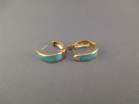 how to make inlay jewelry 14kt gold earrings with turquoise inlay turquoise inlay